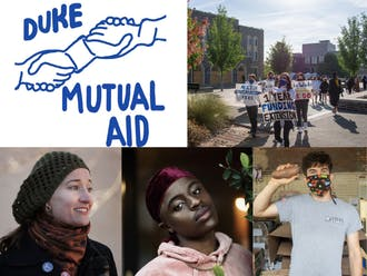 "Top row: Duke Mutual Aid logo; Duke Graduate Students Union at a May 2 rally. Bottom row: Marion Quirici; James Mbuthia; Scott (""Esko"") Brummel. Photos taken by/courtesy of Duke Mutual Aid, Simran Prakash, Phil Fonville, Lydia Sellers and Scott Brummel, respectively."