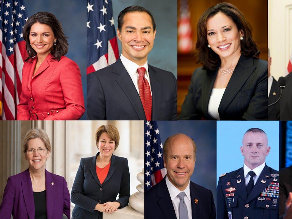 Top row from left: Tulsi Gabbard, Julian Castro, Kamala Harris, Cory Booker. Bottom row from left: Elizabeth Warren, Amy Klobuchar, John Delaney, Richard Ojeda, Andrew Yang.