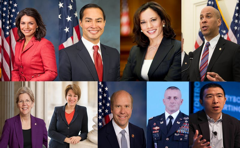 Top row from left: Tulsi Gabbard, Julian Castro, Kamala Harris, Cory Booker. Bottom row from left: Elizabeth Warren, Amy Klobuchar, John Delaney, Richard Ojeda, Andrew Yang.