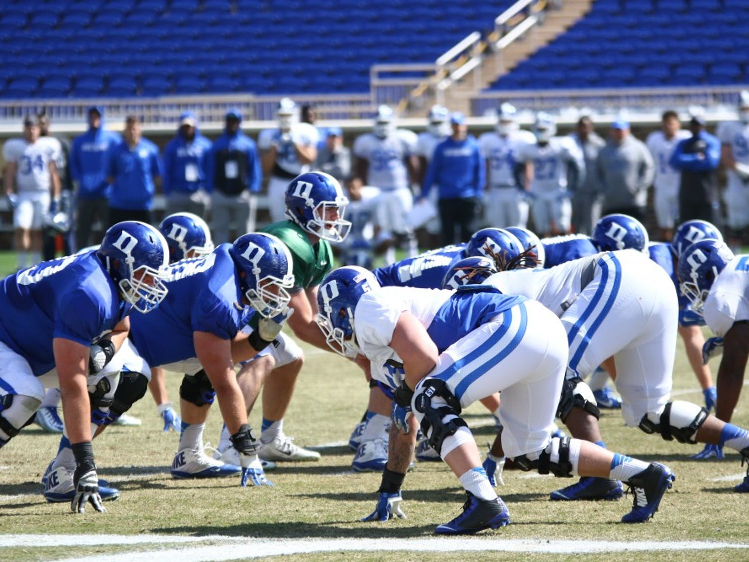 "The Blue Devils went through a 70-play scrimmage as part of a two-hour ""showcase"" to close spring practice Saturday at Wallace Wade Stadium."