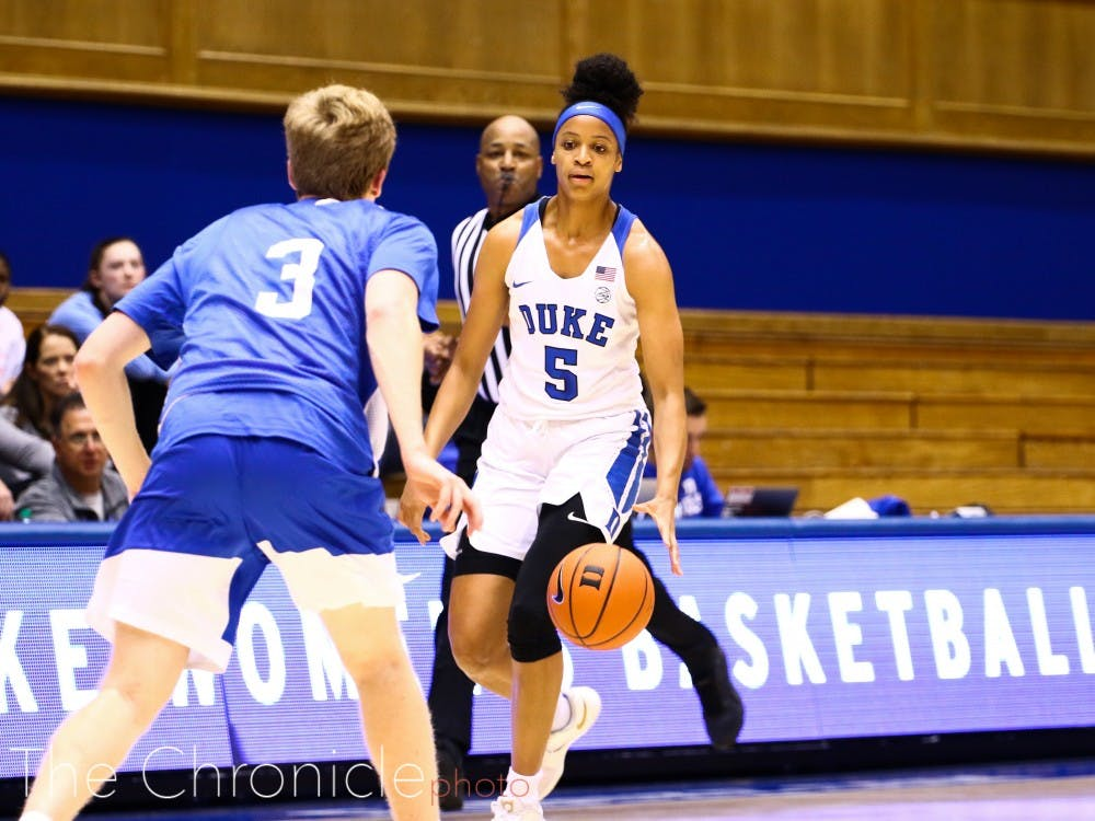 Leaonna Odom impressed in the Blue-White scrimmage, playing as a point forward.