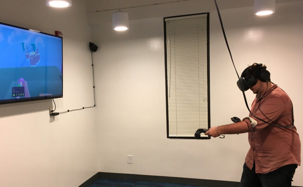 <p>The virtual reality room includes 50 games that are programmed on the system, which took about eight months to build.&nbsp;</p>