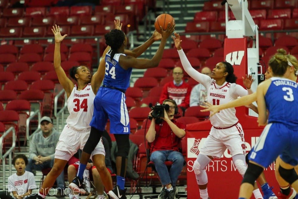 <p>Onome Akinbode-James added a double-double for Duke Wednesday.</p>