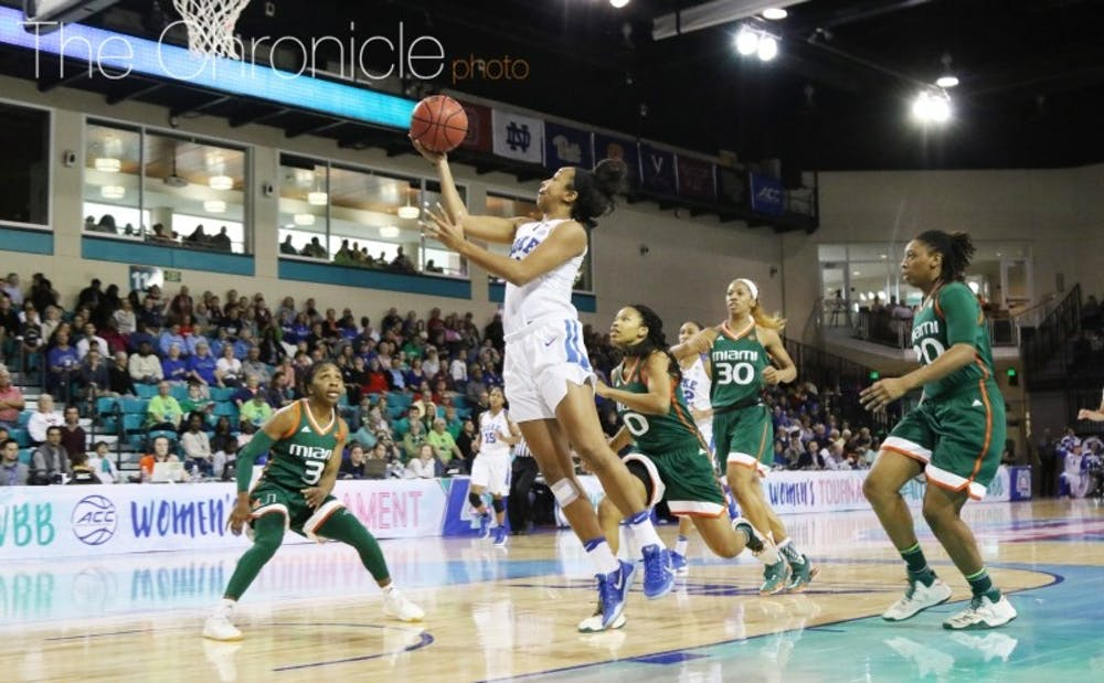 <p>First-team All-ACC guard Lexie Brown led the Blue Devils to the ACC tournament title game and a slew of top-25 wins.&nbsp;</p>