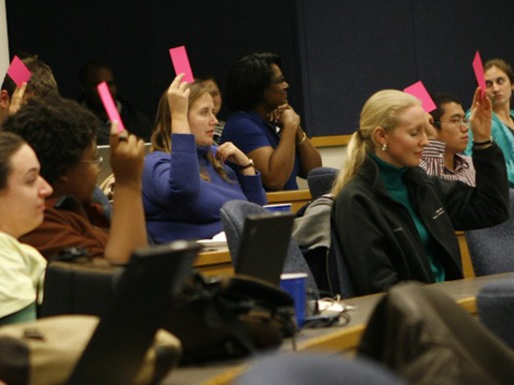 Members of GPSC vote during their weekly meeting Tuesday night. GPSC Vice President Adam Pechtel announced that GPSC would vote on a new strategic plan April 6.
