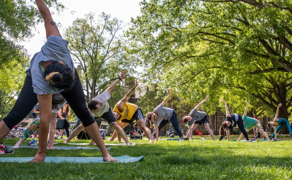 <p>Graduate students held yoga classes Thursday and circulated a petition calling for Duke to cover their gym fees.</p>