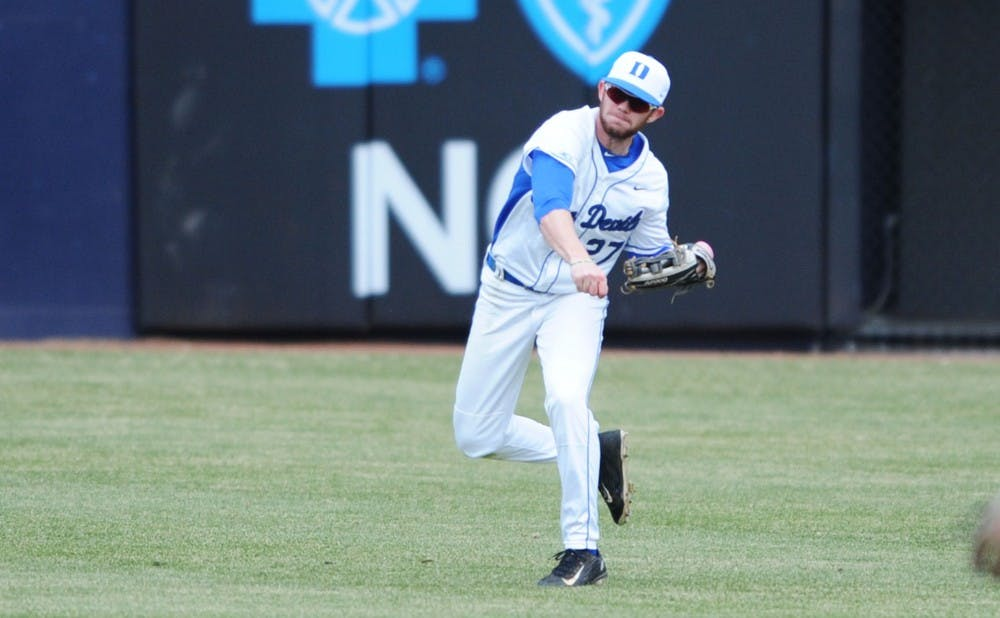 <p>Evan Dougherty delivered the game-winning hit for the Blue Devils Saturday, then drew a walk in the bottom of the ninth inning Sunday to set up Griffin Conine's walk-off double.</p>
