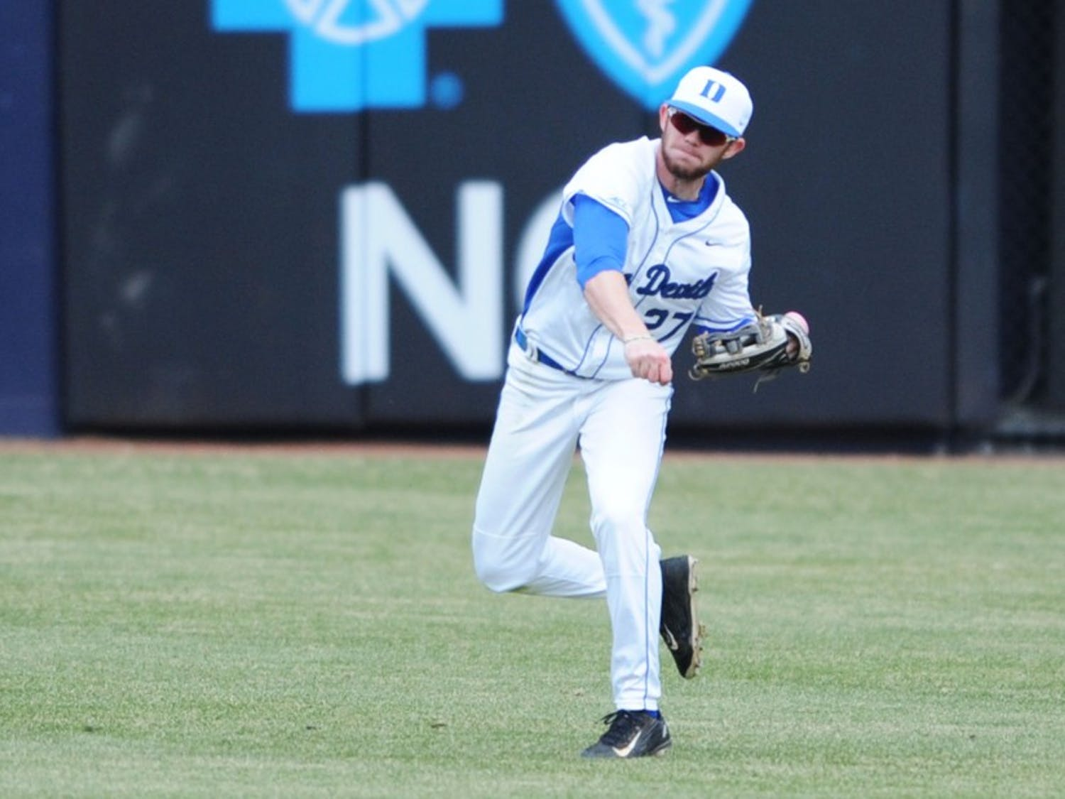 Evan Dougherty delivered the game-winning hit for the Blue Devils Saturday, then drew a walk in the bottom of the ninth inning Sunday to set up Griffin Conine's walk-off double.