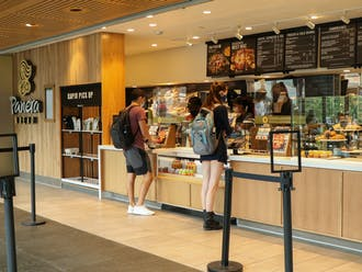 Students stopped at Panera for a quick lunch on Monday.