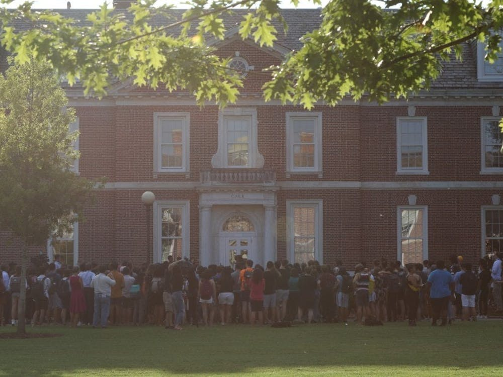 Students rallied recently for changing the name of Carr Building.