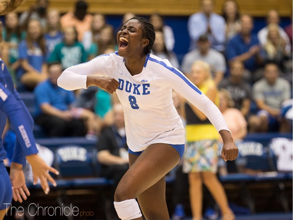 <p>Ade Owokoniran led Duke in blocks in both of the team's Friday games, with 17 apiece.</p>