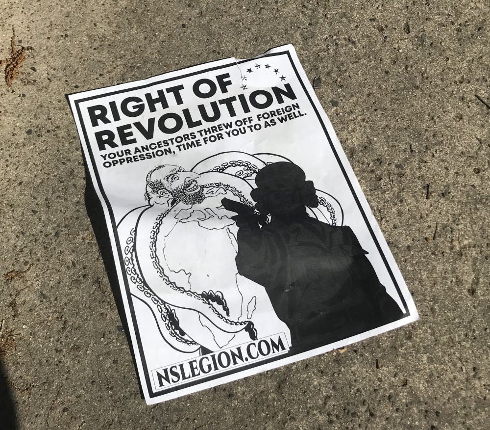 This poster was found upside down on the Main St. sidewalk in front of East Campus.