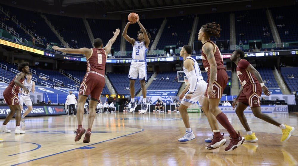 <p>DJ Steward racked up 17 points in Tuesday's 86-51 win over Boston College and will need to produce more of the same against Louisville.</p>
