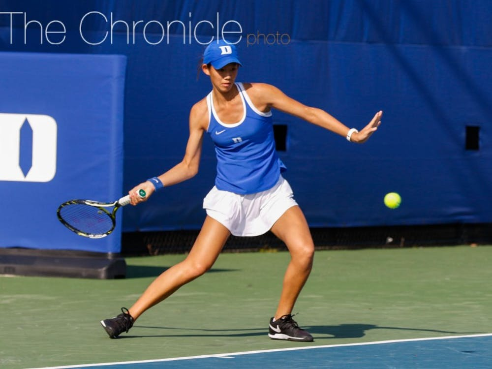 Meible Chi broke out of a brief slump with a convincing 6-0, 6-2 singles win Sunday against Syracuse.