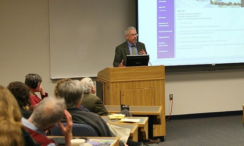 Eric Mlyn, the leader of DukeEngage for more than a decade, has stepped down. In this 2013 photo, he was addressing Academic Council about the program.
