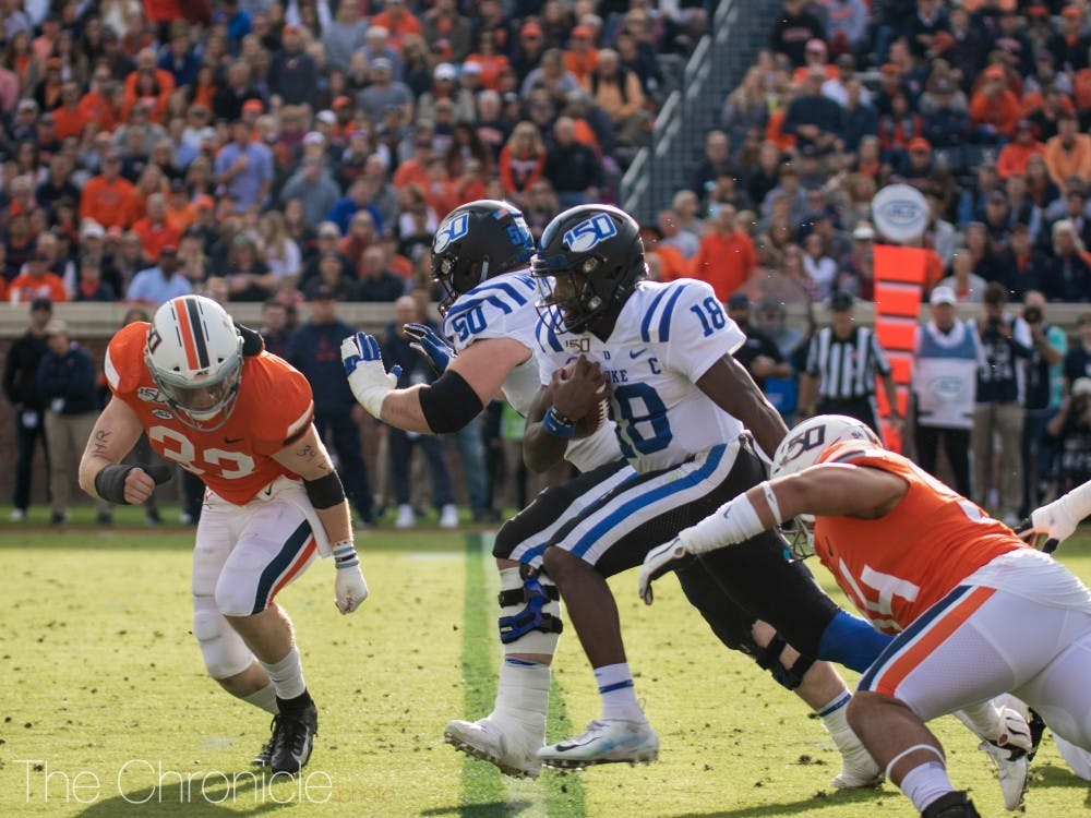 Duke played the UVA Cavaliers at Scott Stadium in Charlottesville, VA on Saturday afternoon. The Blue Devils walked away with a loss, the final score being 14-48.