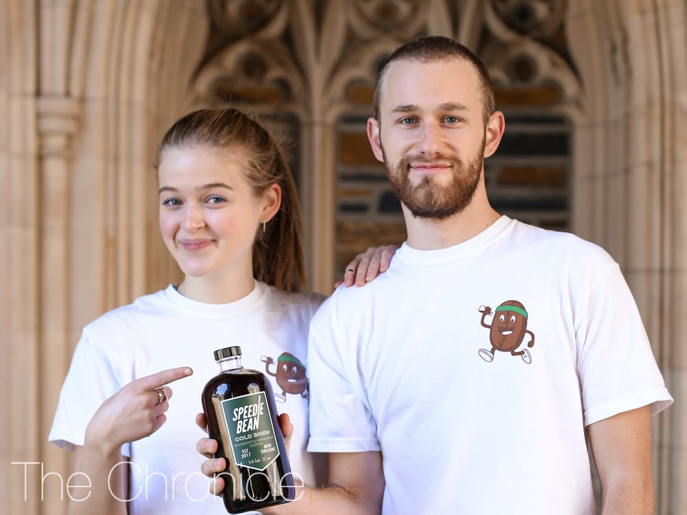 <p>Juniors Lena Yannella and Marco De Cardenas founded Speedie Bean Duke, a business that delivers students cold-brew coffee.</p>