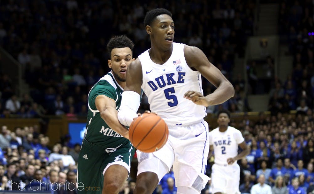 <p>R.J. Barrett's leadership on defense could help Duke become one of the best teams of all-time.</p>