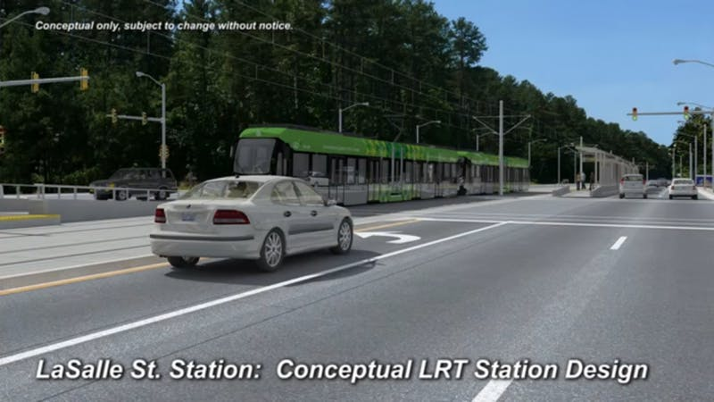 The proposed light rail would have a stop along Lasalle Street and Erwin Road near Duke Hospital.