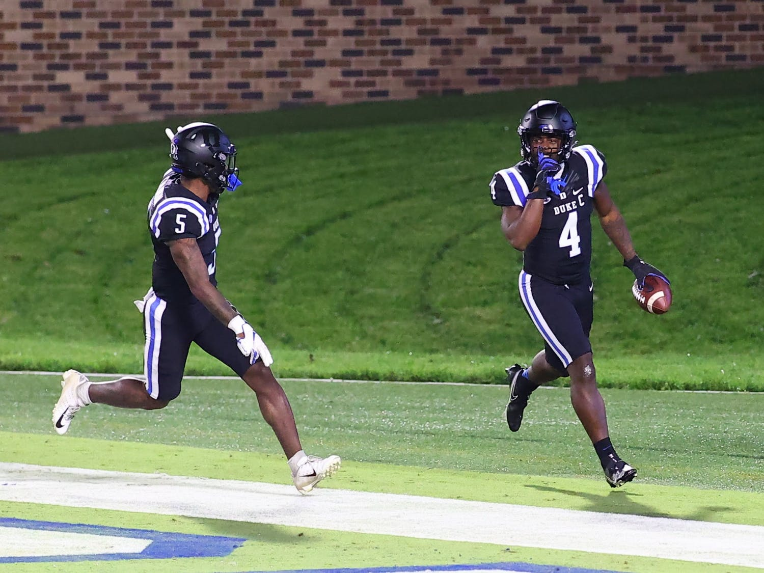 Running backs Deon Jackson (above) and Mataeo Durant found themselves alone in the end zone all night.