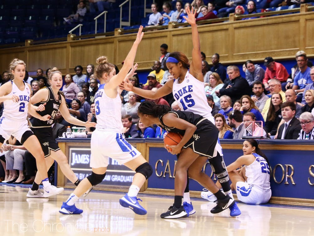 <p>Duke's hounding perimeter defense was not enough to power the Blue Devils to victory Thursday night.</p>