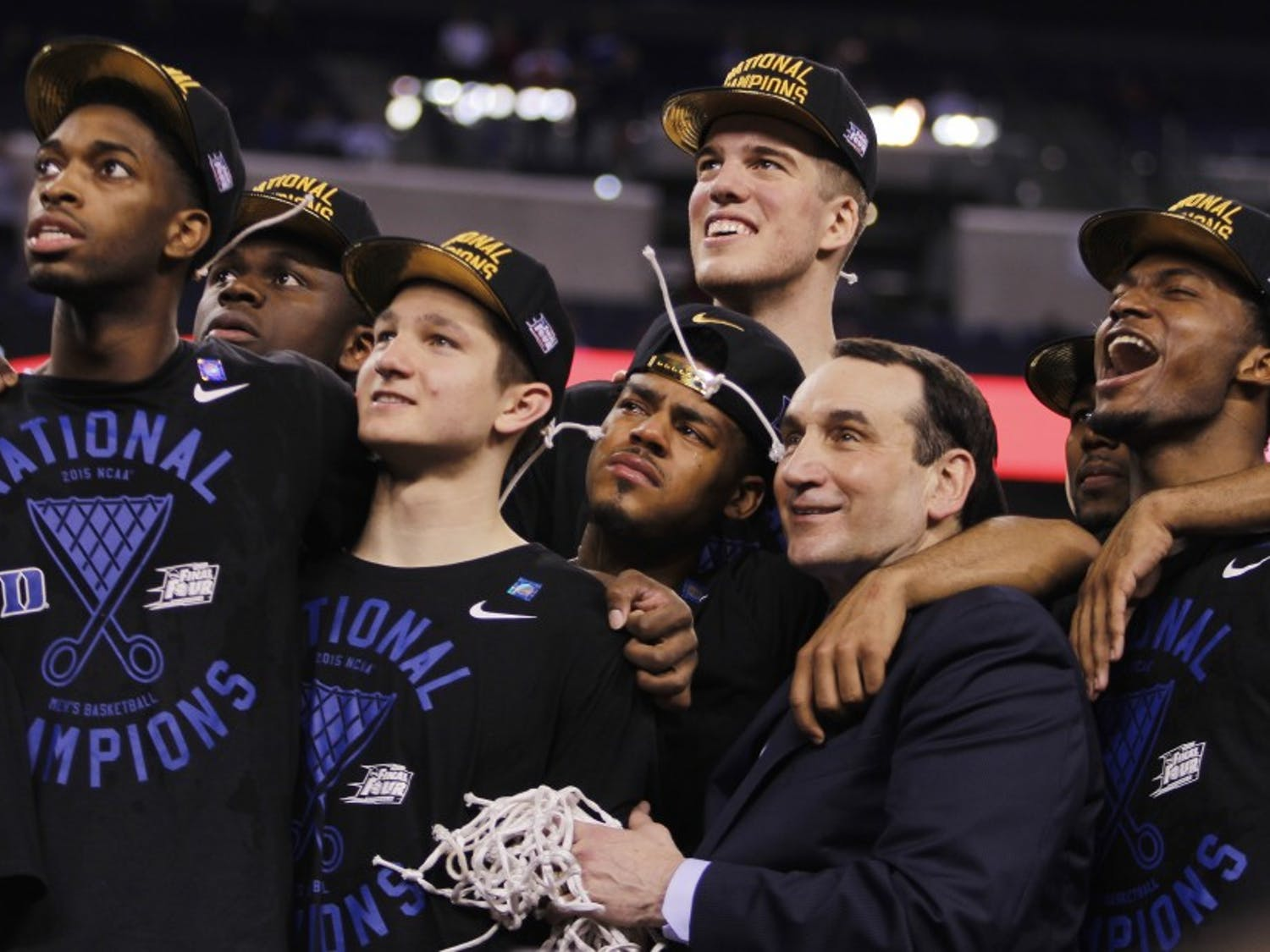Duke celebrated its fifth national title after a dramatic 68-63 victory against Wisconsin in 2015.