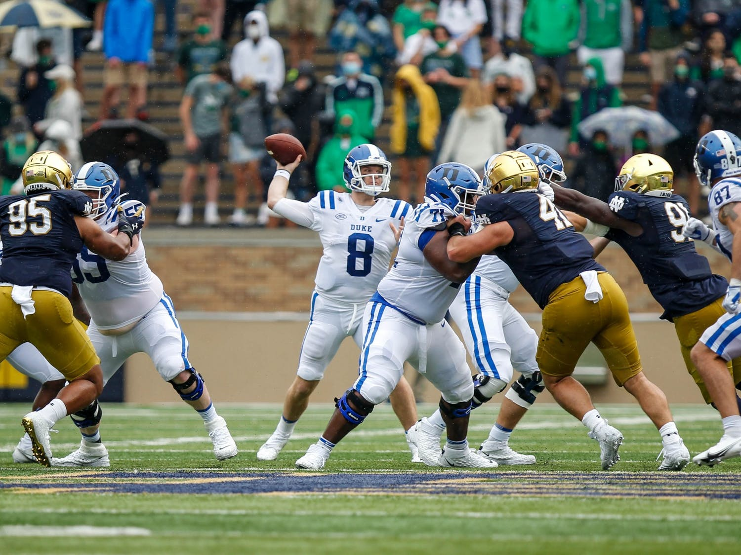 Transfer quarterback Chase Brice has quickly become the face of Duke's offense.