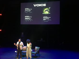 """""""Dope Labs"""" co-hosts Titi Shodiya, PhD '15, and Zakiya Whatley, PhD '14, gave a talk on the podcasting industry at this year's DEMAN Weekend."""