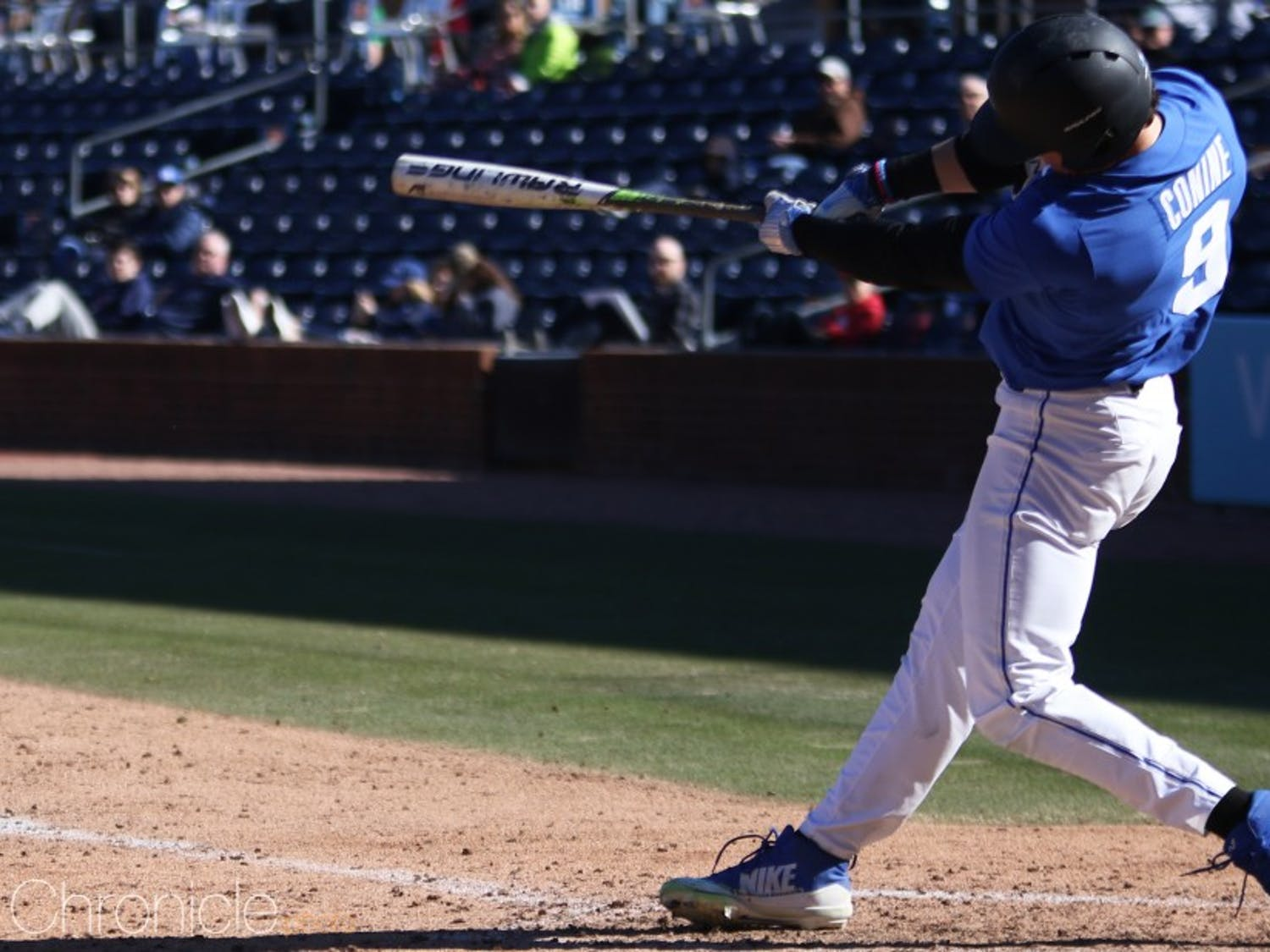 Griffin Conine blasted three home runs in the Blue Devils' doubleheader sweep Monday.