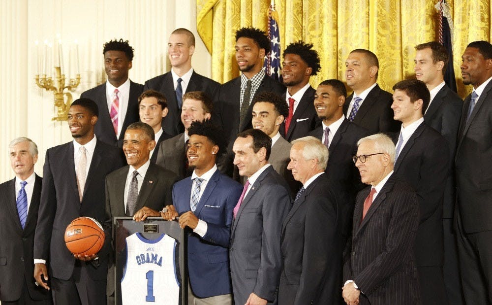 The Blue Devils visited the White House after winning the 2015 national championship.
