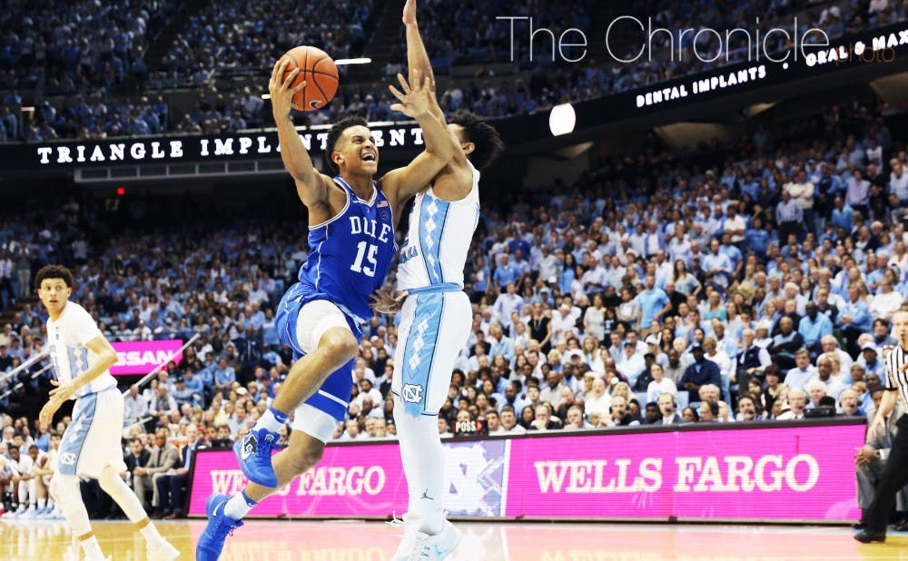 <p>Freshman Frank Jackson was one of five Blue Devils in double figures, but Duke allowed North Carolina to pull away late with several buckets in the paint.&nbsp;</p>