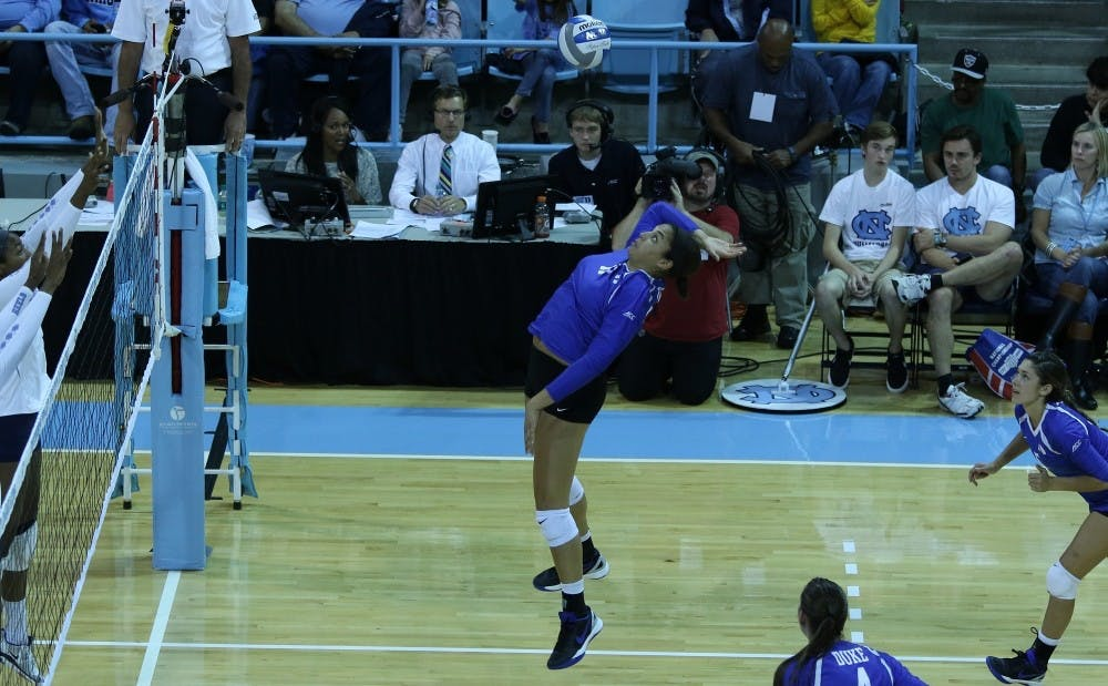 <p>Junior Jordan Tucker led the team with 20 kills and a .267 hitting percentage Sunday, but it wasn't enough to stop Miami from dealing the Blue Devils their second straight five-set loss.</p>