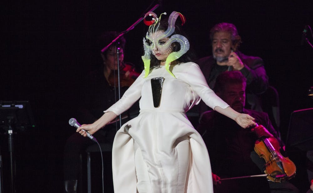 """The Icelandic singer-songwriter Björk, pictured at a show in Mexico earlier this year, released her ninth studio album """"Utopia"""" on Friday."""