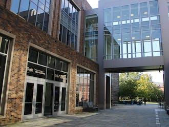 The walkway in the Pratt School of Engineering.