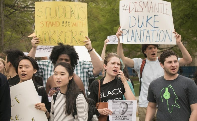 Students protested outside the Allen Building in 2016, and nine students staged a week-long sit-in.
