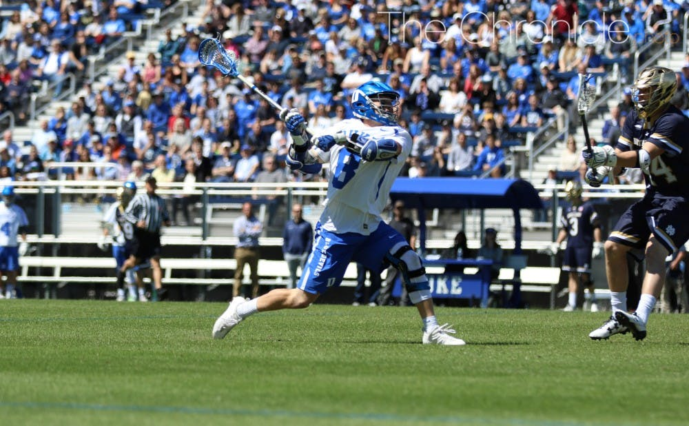 <p>Senior Jack Bruckner scored three goals in the first quarter as the Blue Devils built a 4-1 lead that they never relinquished.&nbsp;</p>