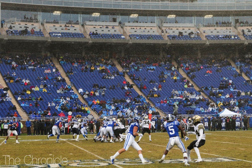 <p>With students on break, Wallace Wade Stadium was not near capacity Saturday.</p>