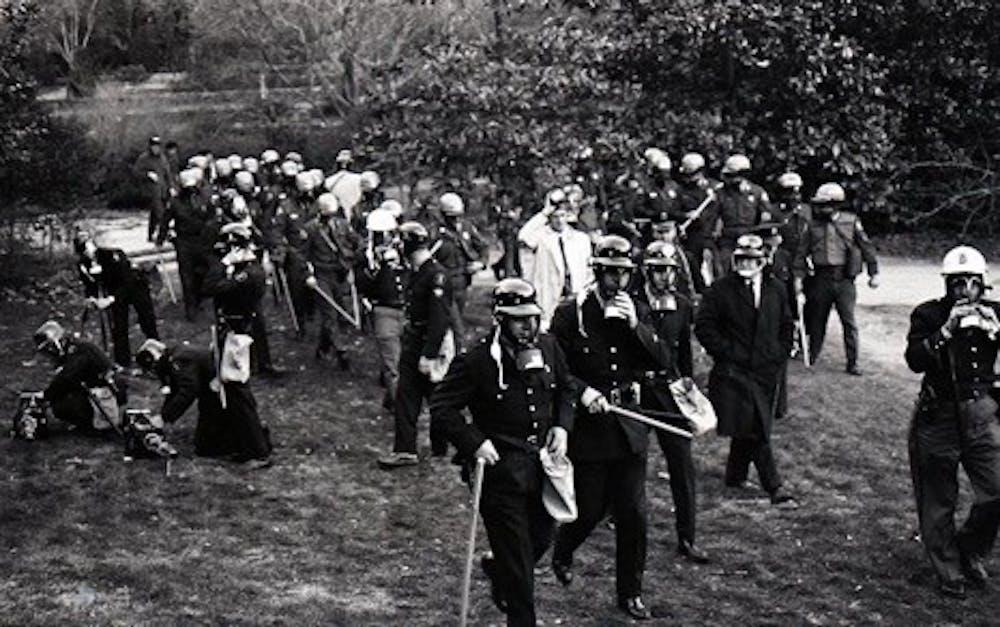 Law enforcement gathering in Duke Gardens. Courtesy of Duke University Library Exhibits.