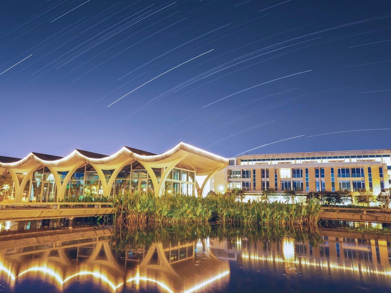 Nighttime at Duke Kunshan University, captured in a long-exposure shot.