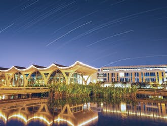 Nighttime at Duke Kunshan University, captured in a long-exposure shot.