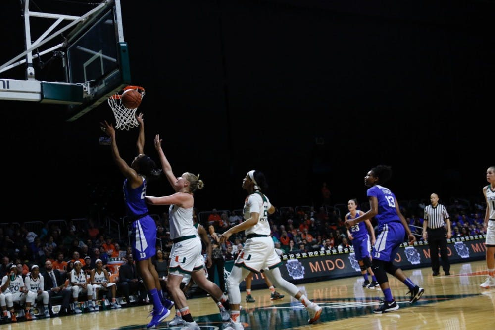 <p>Junior Oderah Chidom scored a career-high 18 points, but the Blue Devils endured a monumental field goal drought that put them in a 16-point halftime hole Sunday at Miami.</p>