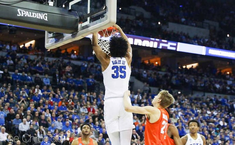 Bagley averaged better than 21 points and 11 rebounds per game in his lone season in Durham.