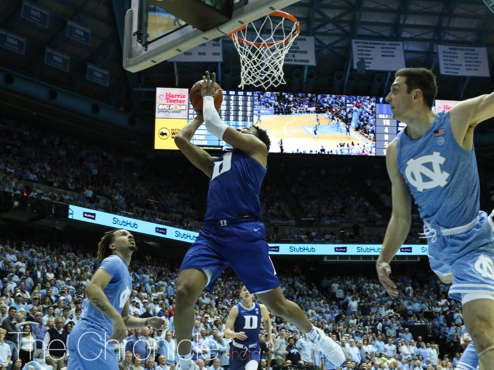 <p>Freshman forward Wendell Moore Jr. provided the final, buzzer-beating blow to down the Tar Heels Saturday.</p>