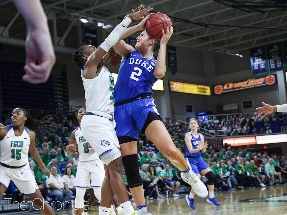 <p>Gorecki leads the Blue Devils in points, rebounds and assists this season.</p>