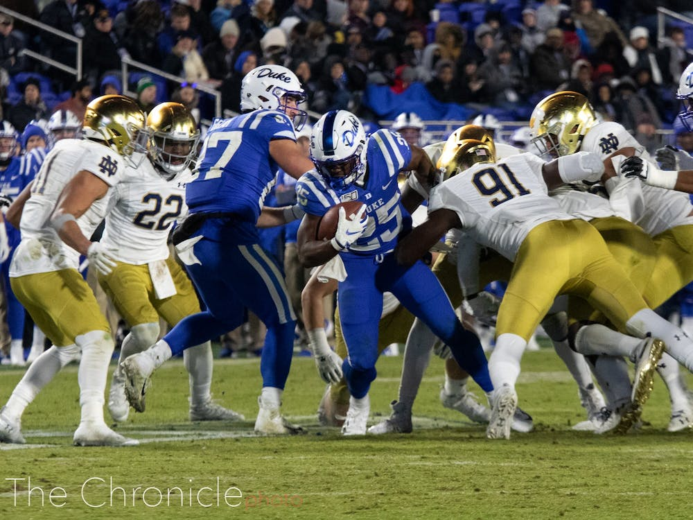 Duke Football played the Notre Dame Fighting Irish at Duke Wallace Wade Stadium in Durham, North Carolina. Final score was 38-7, with Notre Dame winning the game.