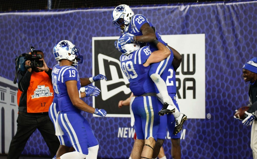 <p>Duke's veteran players got to celebrate the end of their careers in style Saturday&mdash;a bowl win in the Big Apple, after three straight years of fourth-quarter disappointments.</p>