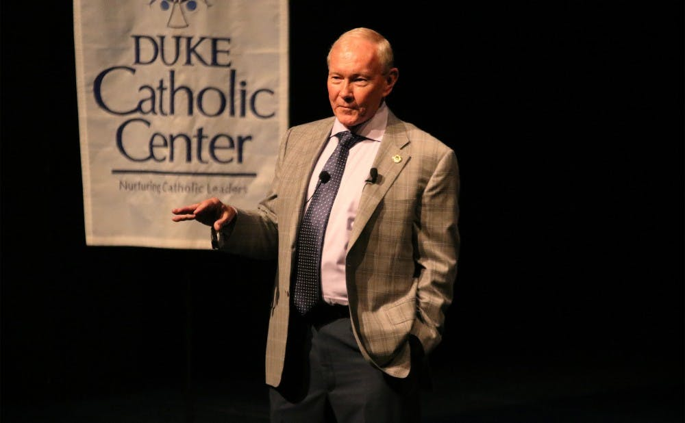 <p>Martin Dempsey discussed maintaining&nbsp;his faith in a war environment and the changing face of American military Thursday night.&nbsp;&nbsp;</p>