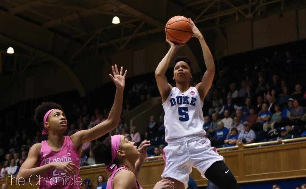 <p>Leaonna Odom exerted all-around dominance in the Blue Devils' exhibition contest.</p>
