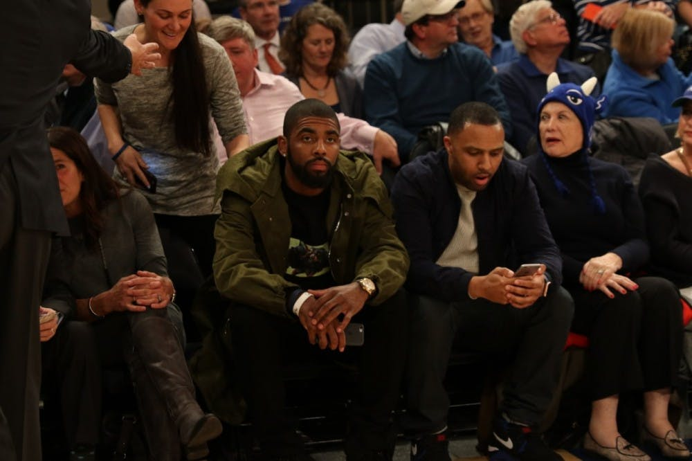 <p>Former Duke star Kyrie Irving took in Tuesday's game courtside. Irving's Cavaliers play the New York Knicks at Madison Square Garden Wednesday.</p>