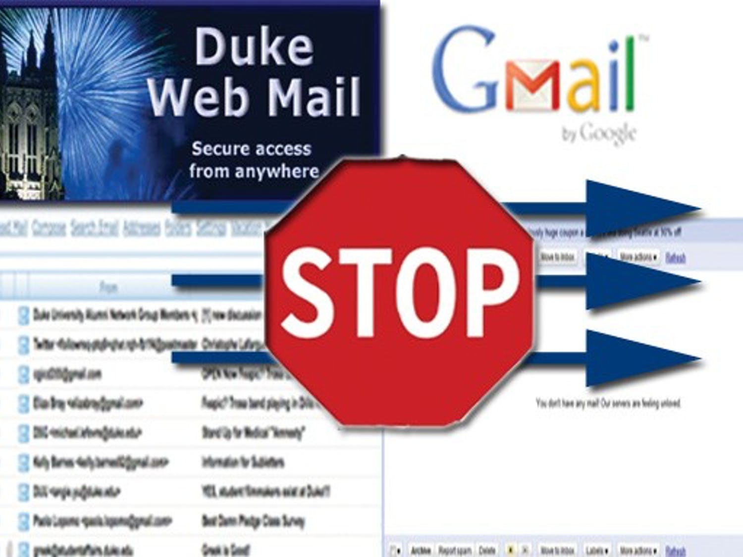 Students found their Duke WebMail failing to forward messages to their Gmail and Yahoo accounts